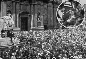 Hitler at a World War I RallyThis photo is constantly debated as to whether is has been doctored or not.