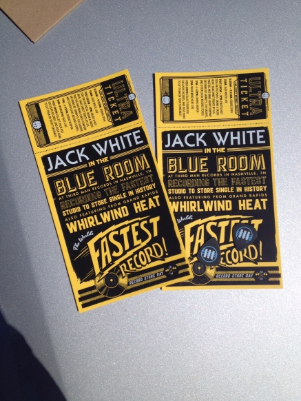 Our tickets for the show and recording and the two picks that we caught! The top of the ticket was scanned with a black light, and the Third Man tower shows up to ensure the ticket is legit.
