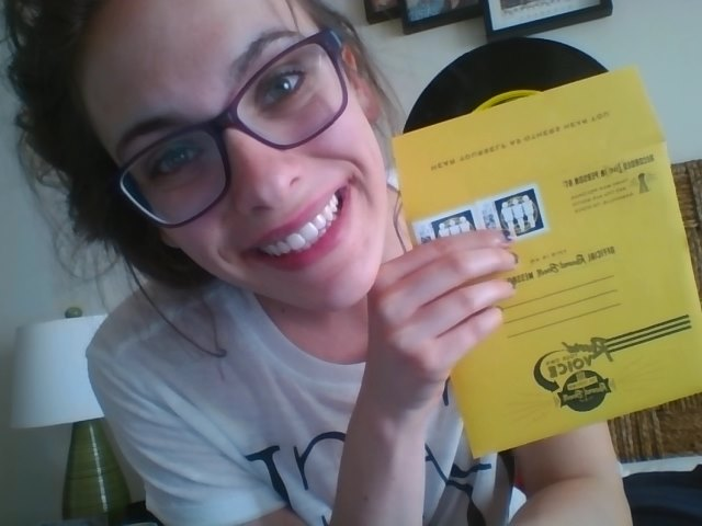 Me holding my own recorded vinyl- that's one item scratched off the bucket list!