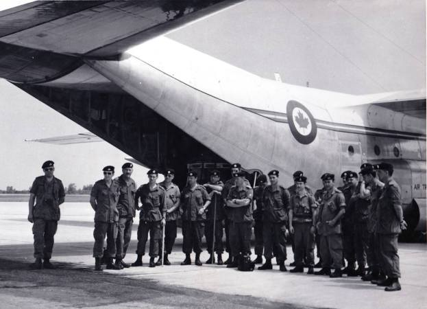 The men of Operation Northern Quest on the tarmac at the Clinton Airport, read to depart. Photo courtesy of The Royal Canadian Regiment Museum archives.