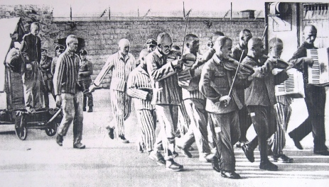 Mauthausen, an orchestra accompanies prisoners to their execution http://www.yadvashem.org/yv/en/holocaust/resource_center/item.asp?GATE=Z&list_type=2-24&type_id=2&total=N&title=The%20Camps%20as%20Instruments%20ofRacial%20Policy%20-%20Photographs