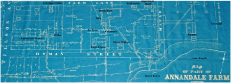 Map of the model farm courtesy of Annandale National Historic Site